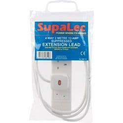 SupaLec 4 Gang Extension Lead - 2 Metre 13 Amp - Supressed
